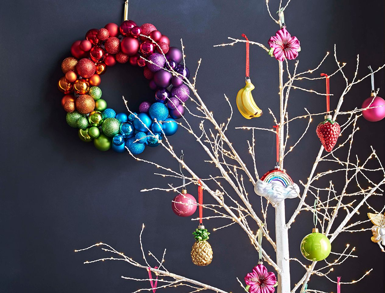 Christmas wreath made with baubles