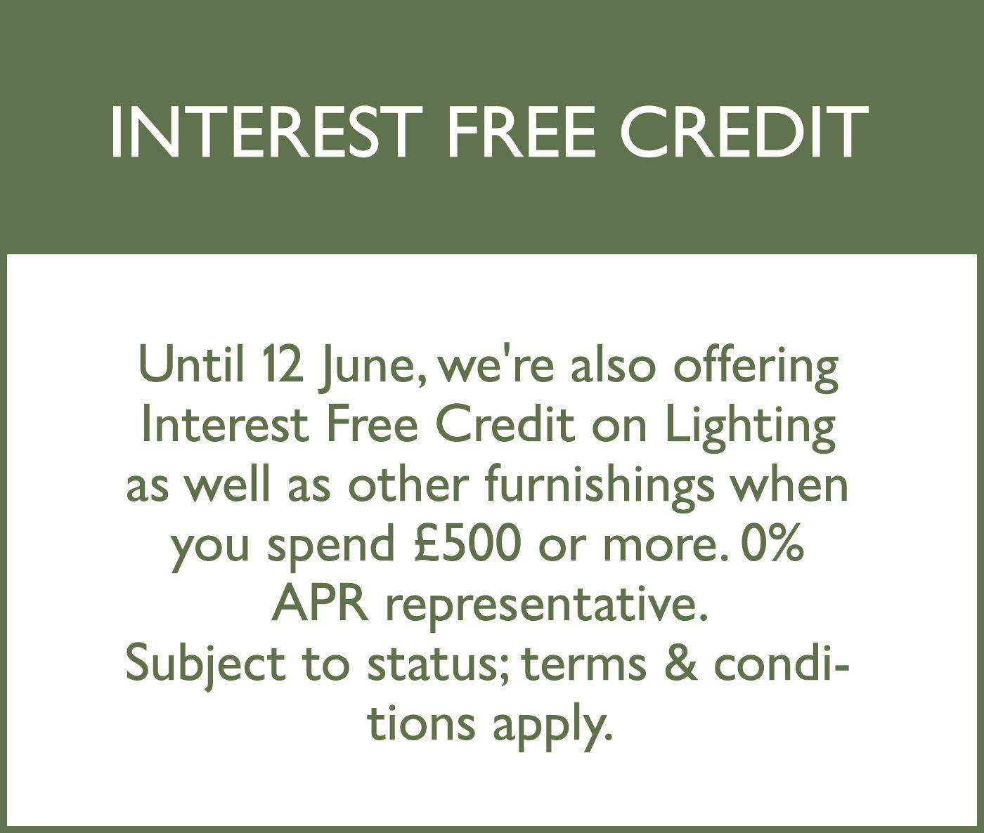 770c275fc0d Interest free credit on lighting offer