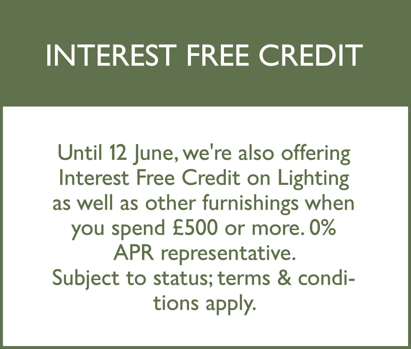 Interest free credit on lighting offer
