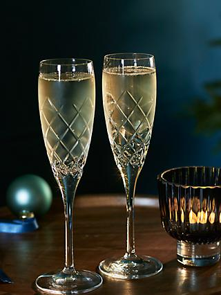 John Lewis & Partners Lucca Cut Glass Champagne Flutes, 160ml, Set of 2, Clear