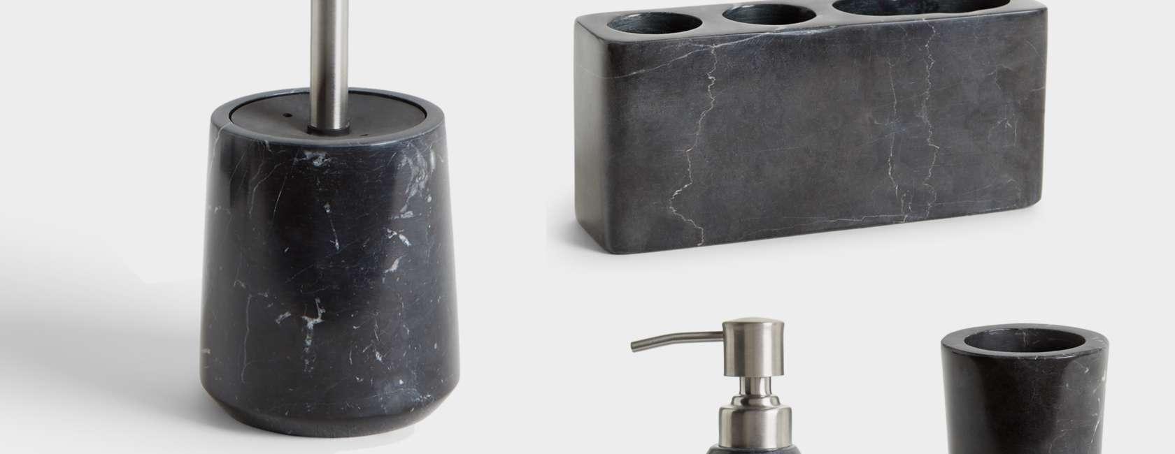 john lewis  partners black marble bathroom accessories at