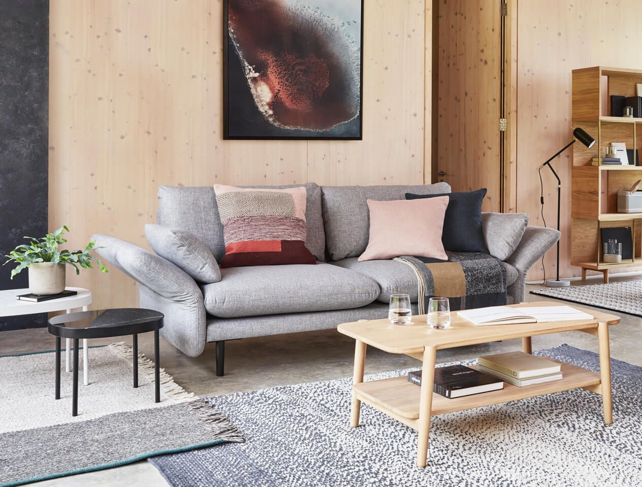 Light grey sofa in Scandi design