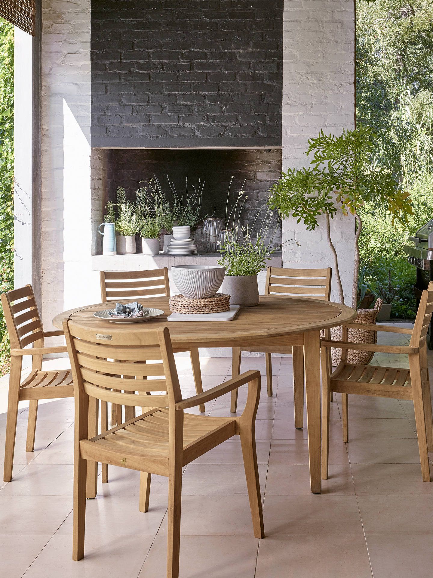 John Lewis & Partners Longstock 8-Seater Round Garden Dining Table,  FSC-Certified (Teak), Natural