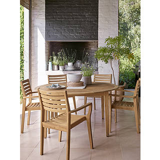 John Lewis Longstock Garden Dining Table 6 Stacking Chairs FSC Certified Teak Natural