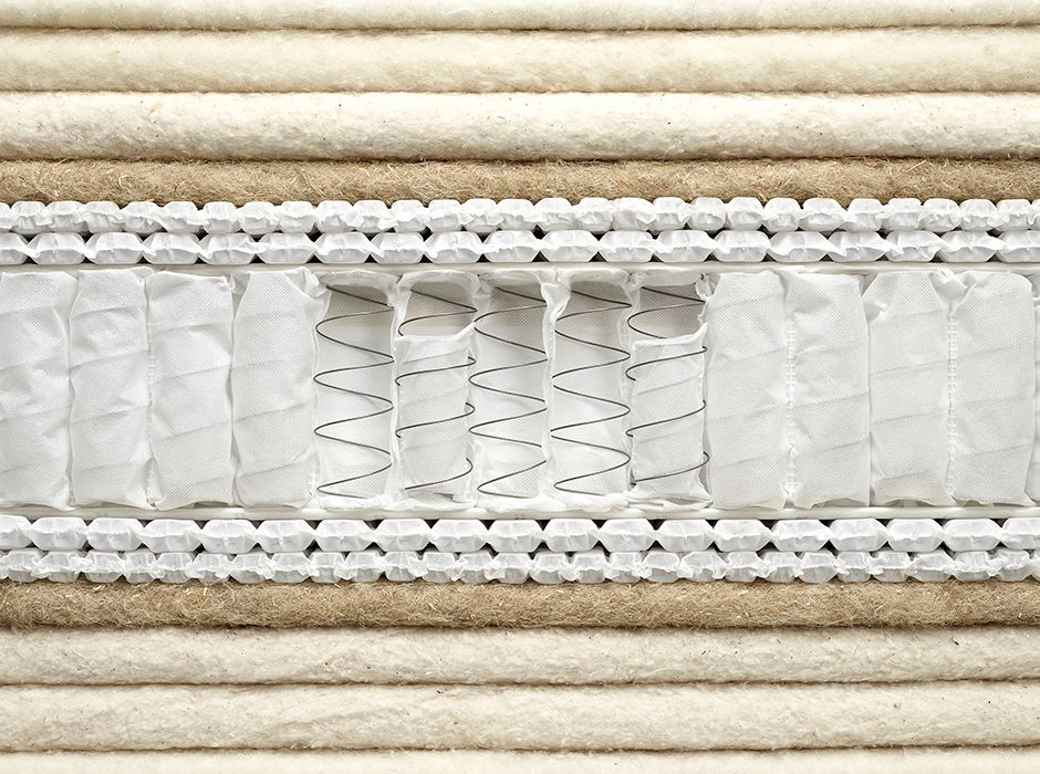 An example of the inside of a pocket sprung mattress