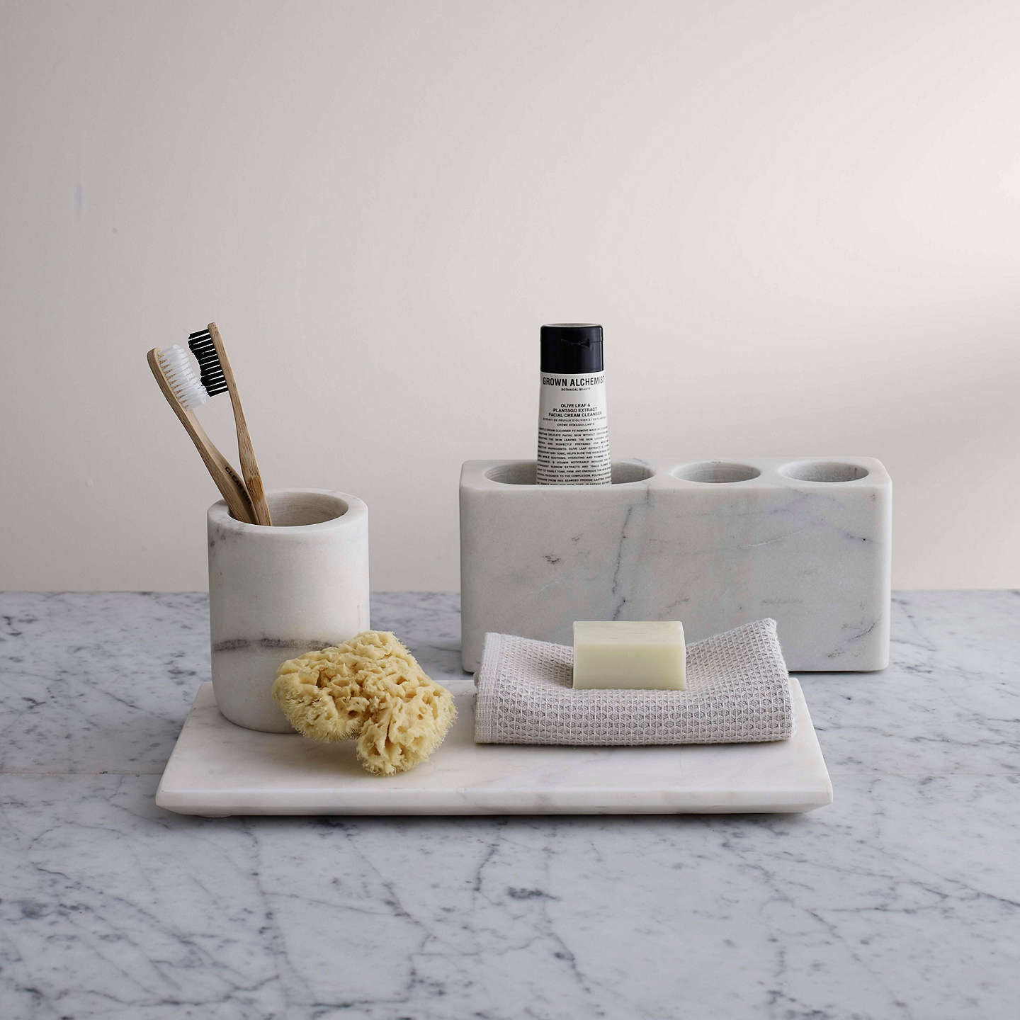 John lewis white marble bathroom accessories tray at john for Marble bathroom accessories