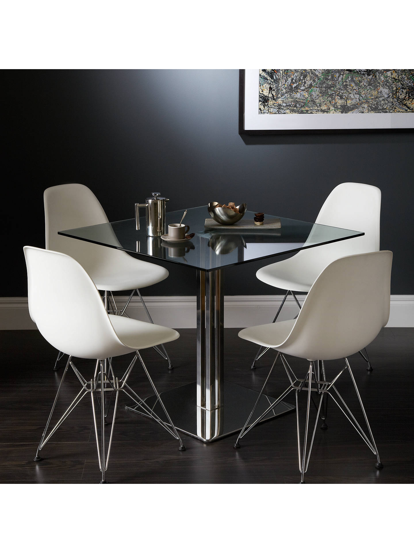 John Lewis Tropez Square 4 Seater Glass Top Dining Table At John