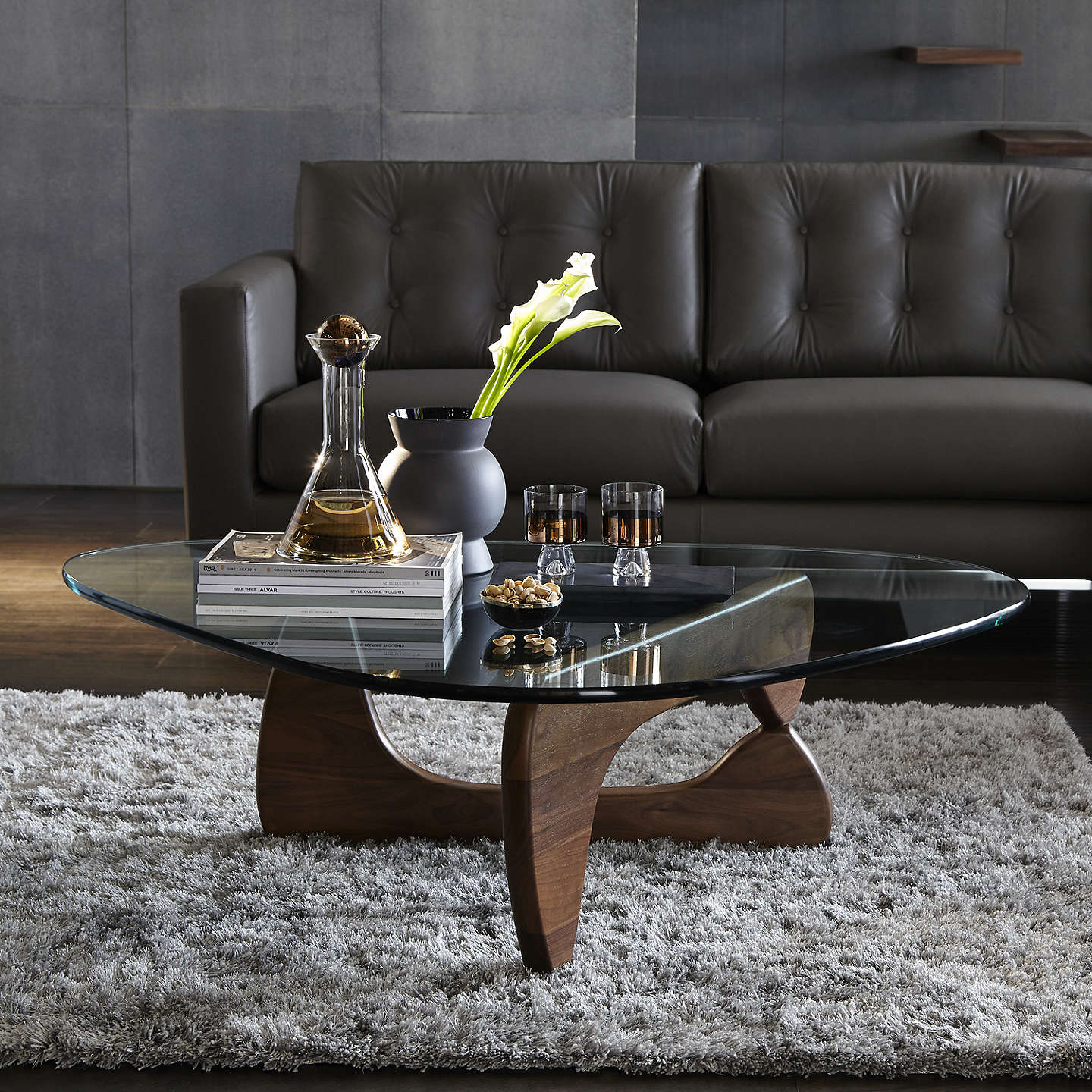 Vitra noguchi coffee table walnut at john lewis - Table basse noguchi ...