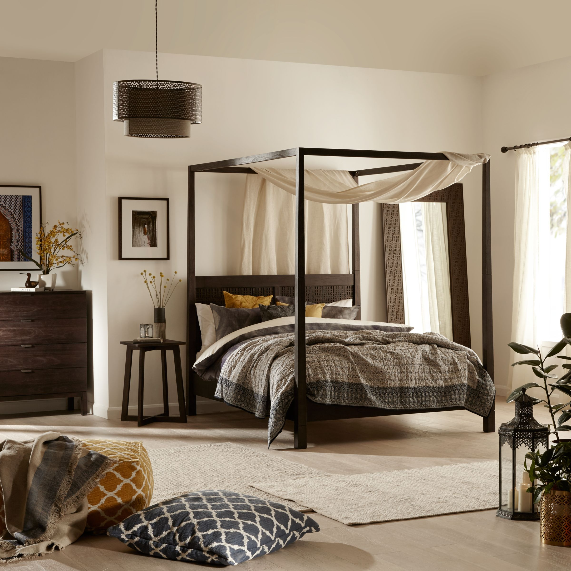 John Lewis Flores 4 Poster Bed Frame Super King Size Grey At John Lewis Partners