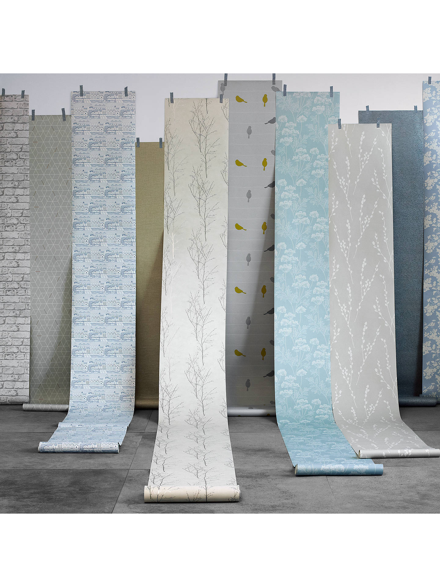 Buy John Lewis & Partners Nordic Houses Wallpaper, Blue Online at johnlewis.com