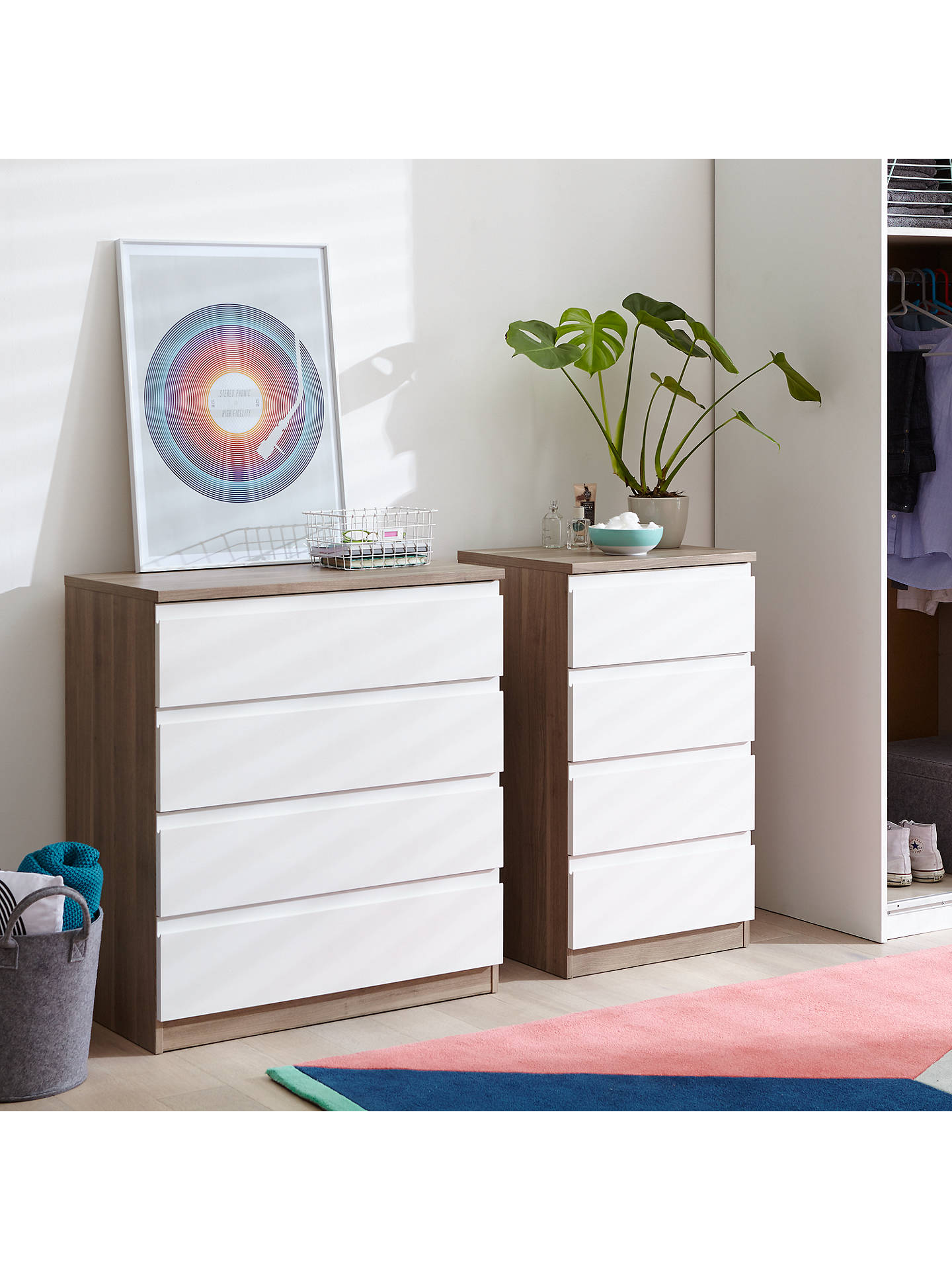 BuyHouse by John Lewis Mix it Wide 4 Drawer Chest, House Smoke/Natural Oak Online at johnlewis.com