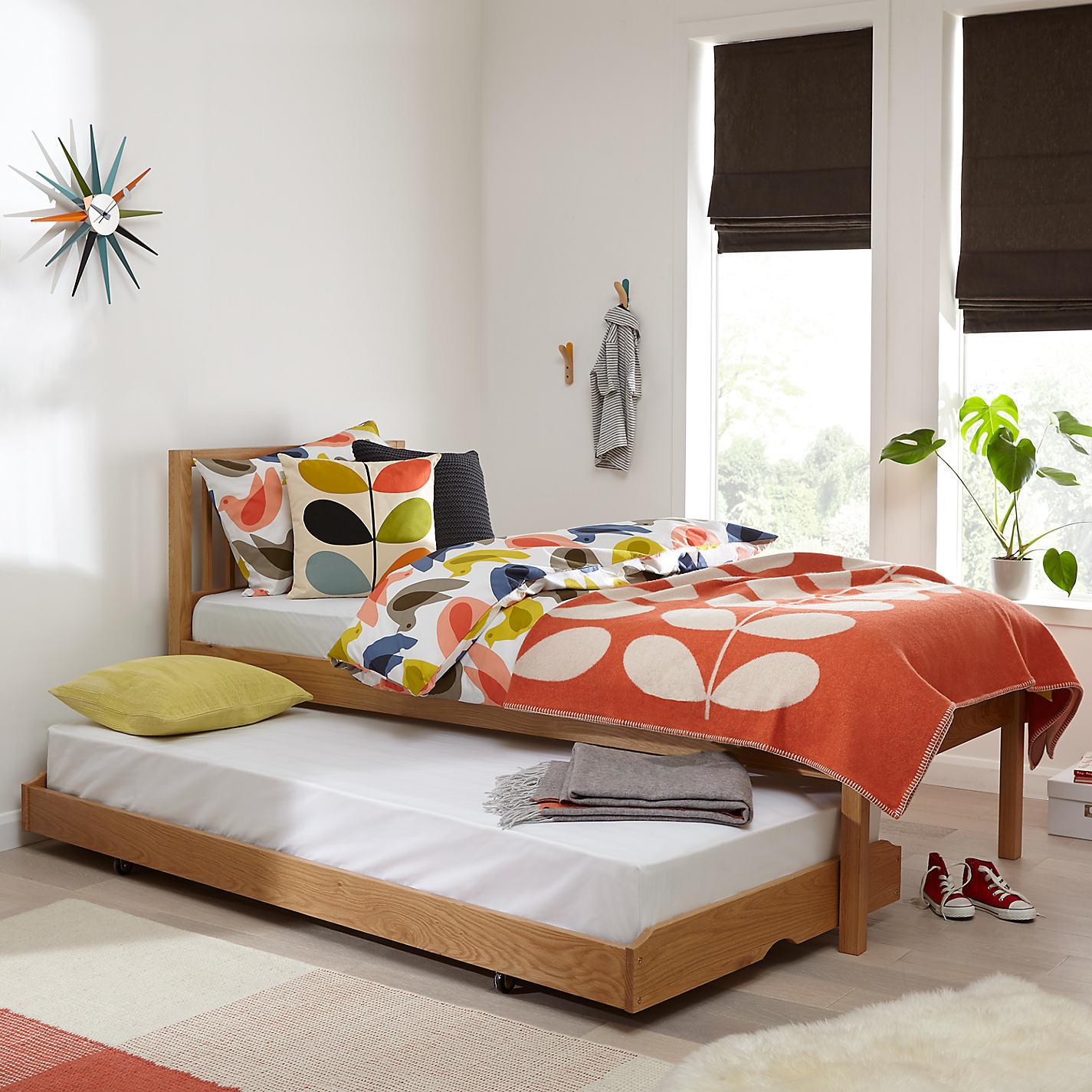John Lewis Morgan Trundle Guest Bed With Mattresses Single Oak Online At Johnlewis