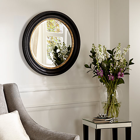 Buy John Lewis Circle Wall Mirror, Black/Gold, Dia.68cm Online at johnlewis.com
