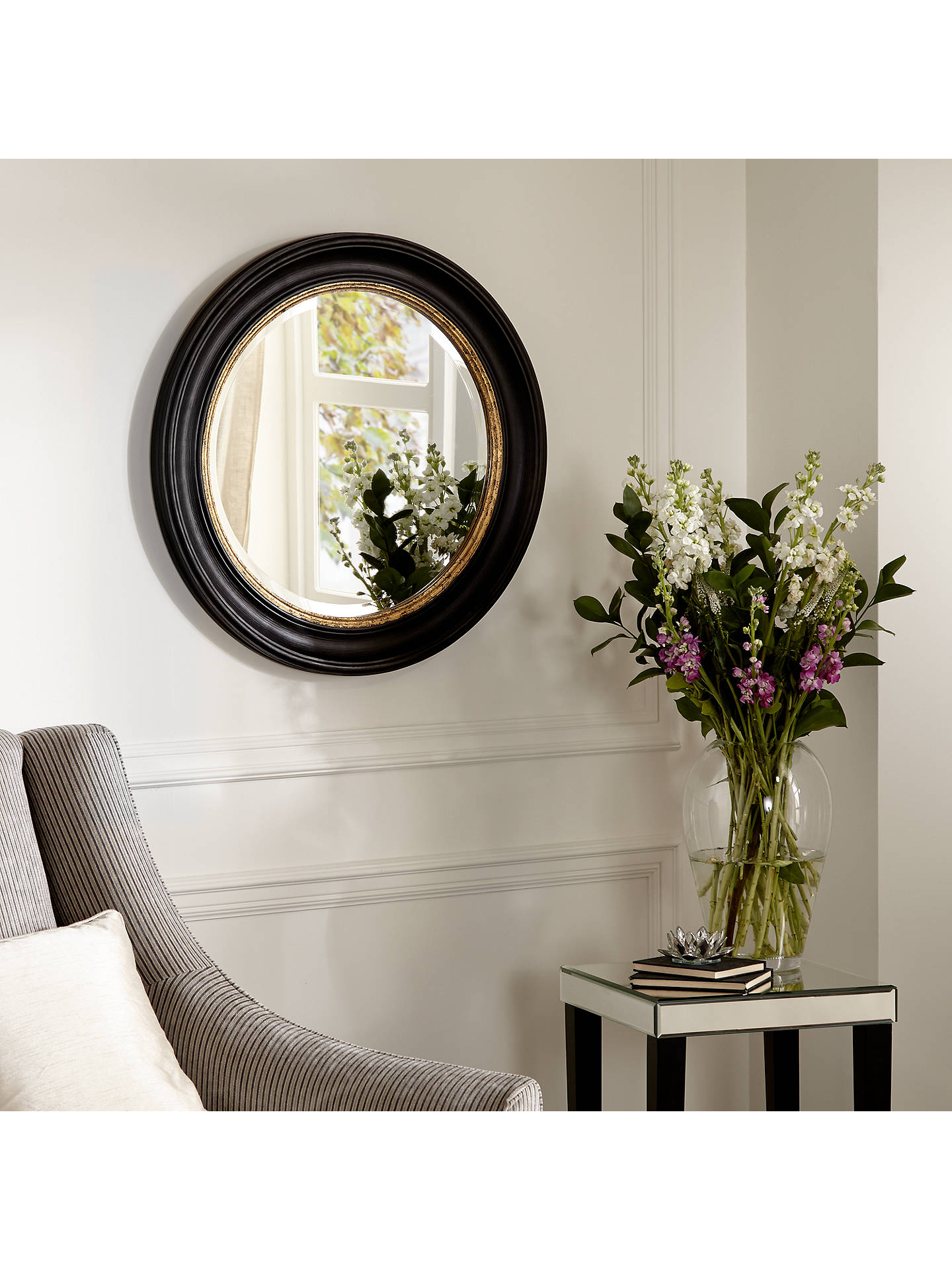 John Lewis Partners Circle Wall Mirror Dia 68cm Black Gold