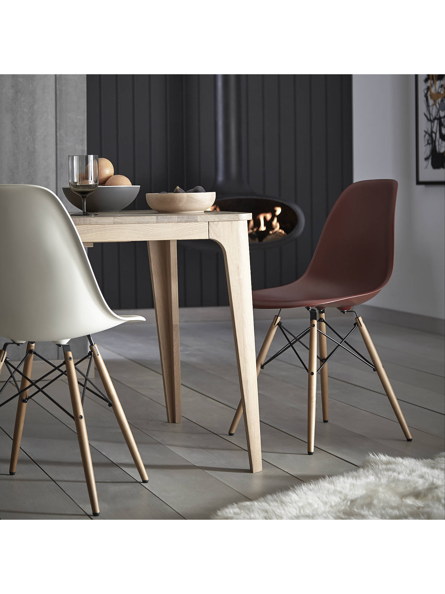 BuyVitra Eames DSW Side Chair, Light Maple Leg, Cream Online at johnlewis.com