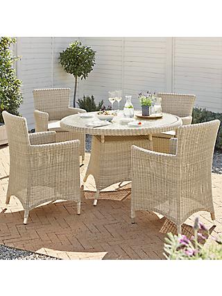 John Lewis Dante Garden Dining Table & 4 Armchairs, Natural