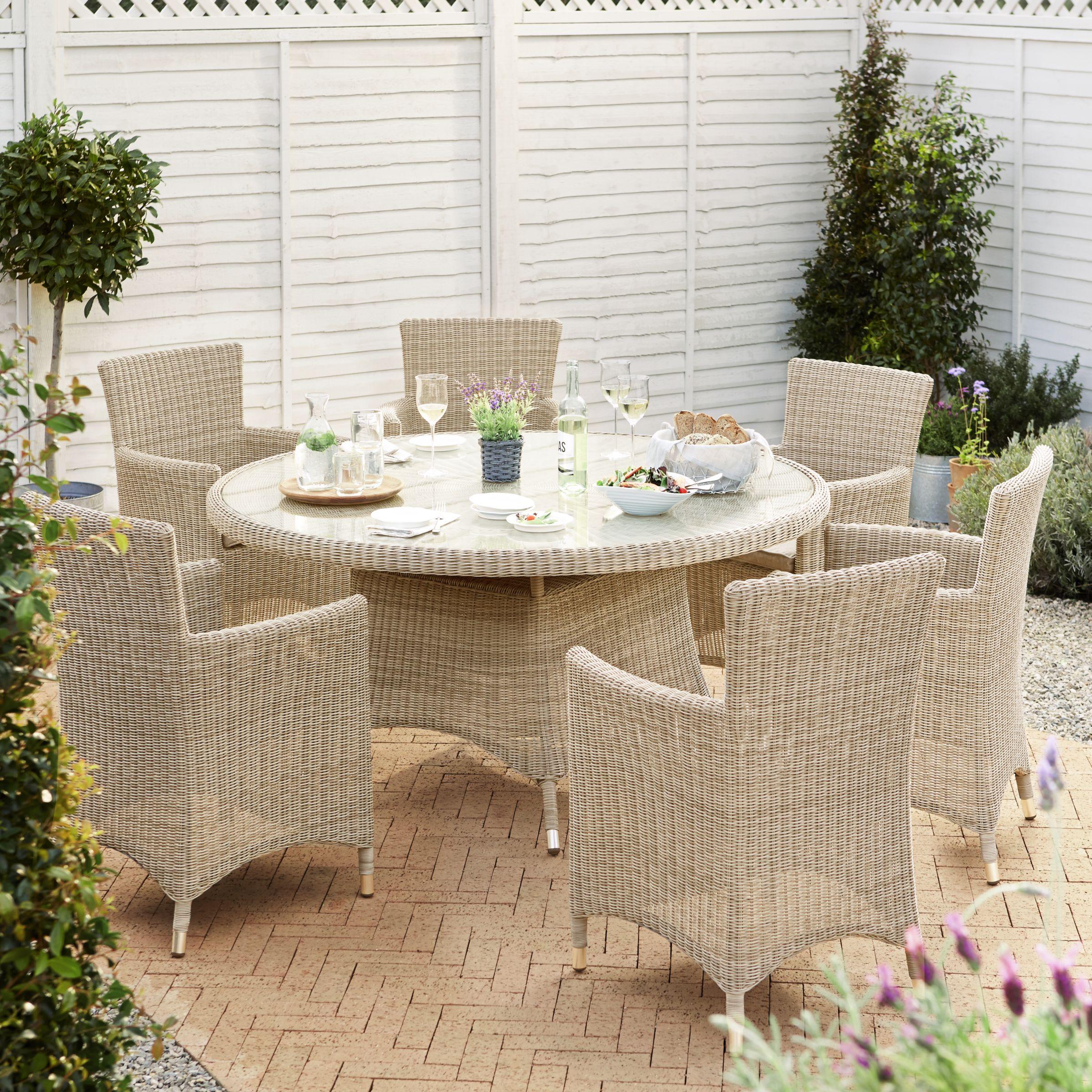 John Lewis Dante Garden Dining Table & 6 Armchairs Set, Natural at ...