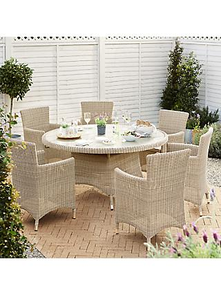 John Lewis & Partners Dante Garden Dining Table & 6 Armchairs Set, Natural