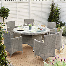 Buy John Lewis Dante Dining Table & 6 Dining Armchairs, Grey Online at johnlewis.com