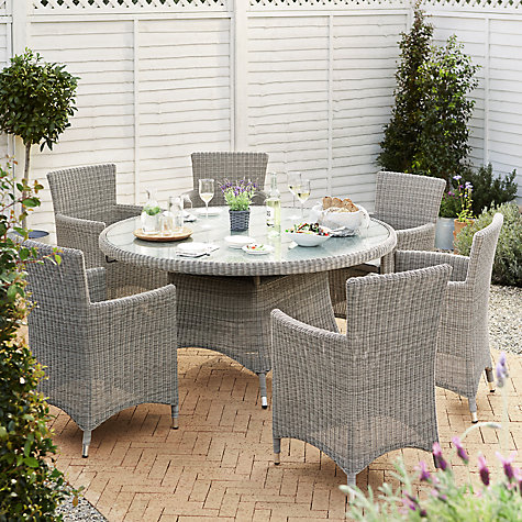 Buy John Lewis Dante Dining Table   6 Dining Armchairs  Grey Online at  johnlewis. Rattan effect   Garden Furniture Sets   John Lewis