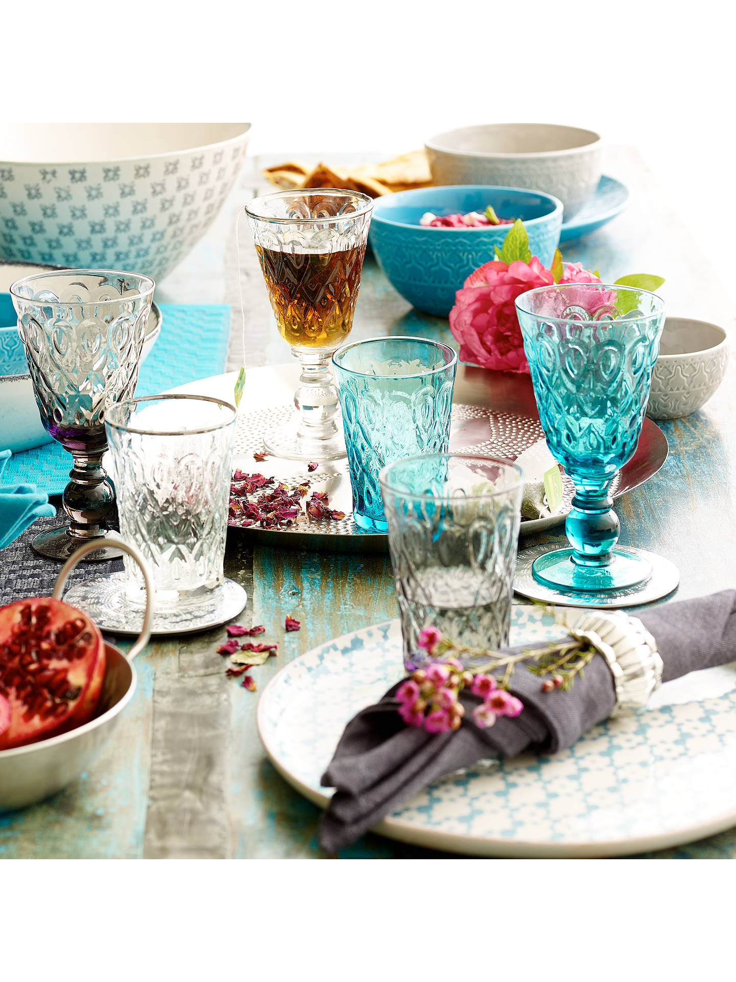 Buy John Lewis Wine Glass, Persian Barbecue, Turquoise Online at johnlewis.com