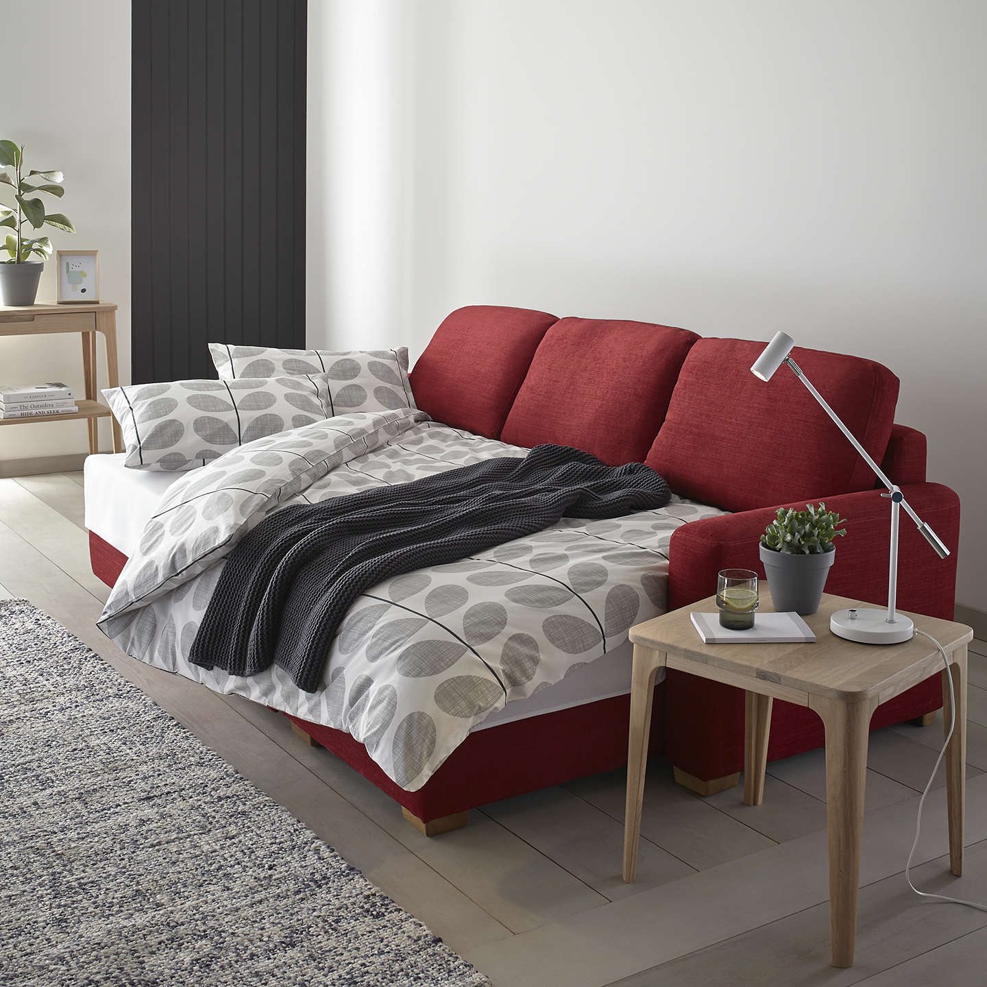 john lewis sacha large sofa bed with foam mattress light leg erin grey at john lewis. Black Bedroom Furniture Sets. Home Design Ideas