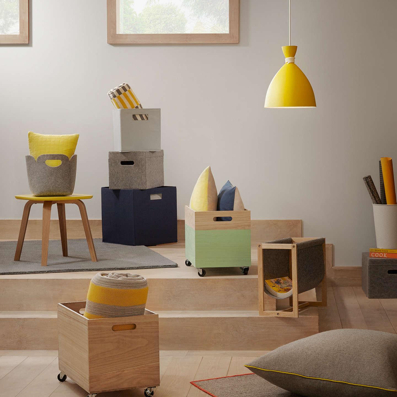 house by john lewis felt storage boxes set of 3 at john lewis. Black Bedroom Furniture Sets. Home Design Ideas