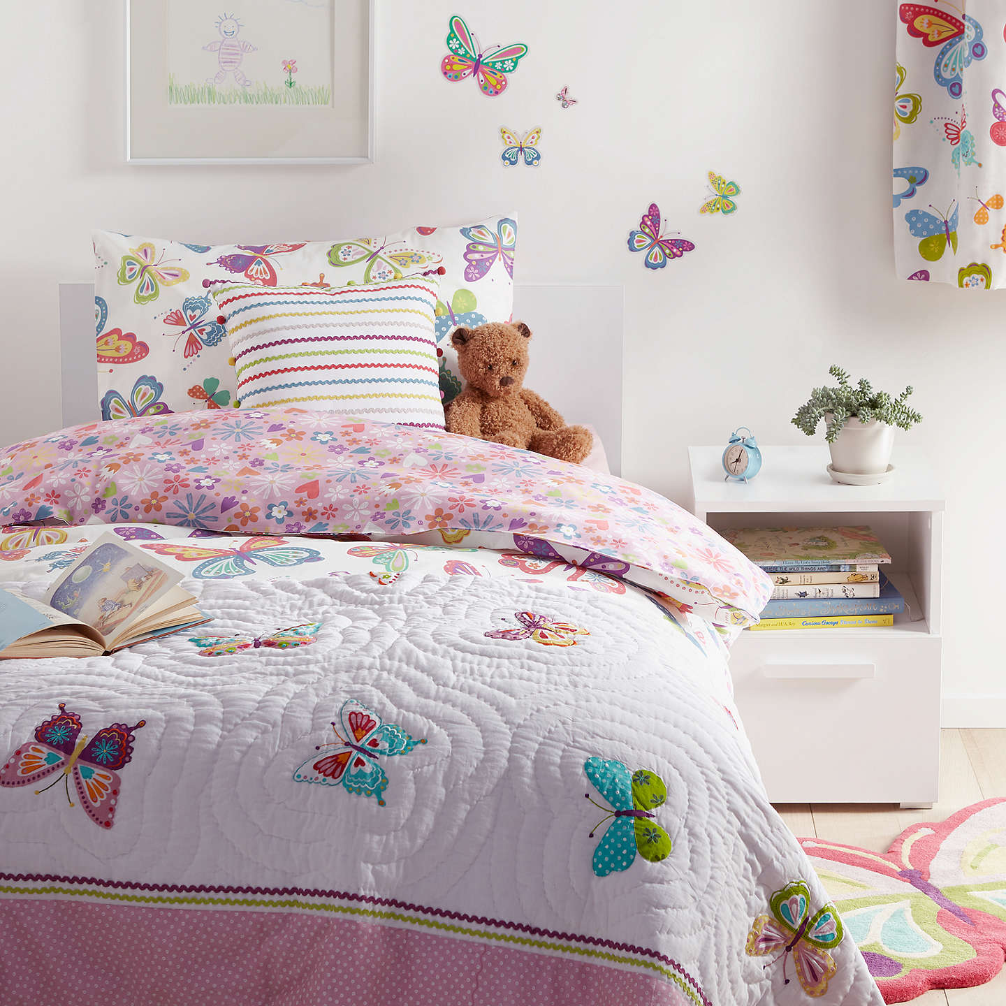 Little Home At John Lewis Erflies Duvet Cover And Pillowcase Set Single Online Johnlewis
