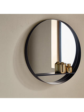 Design Project By John Lewis No 120, Round Mirror With A Shelf