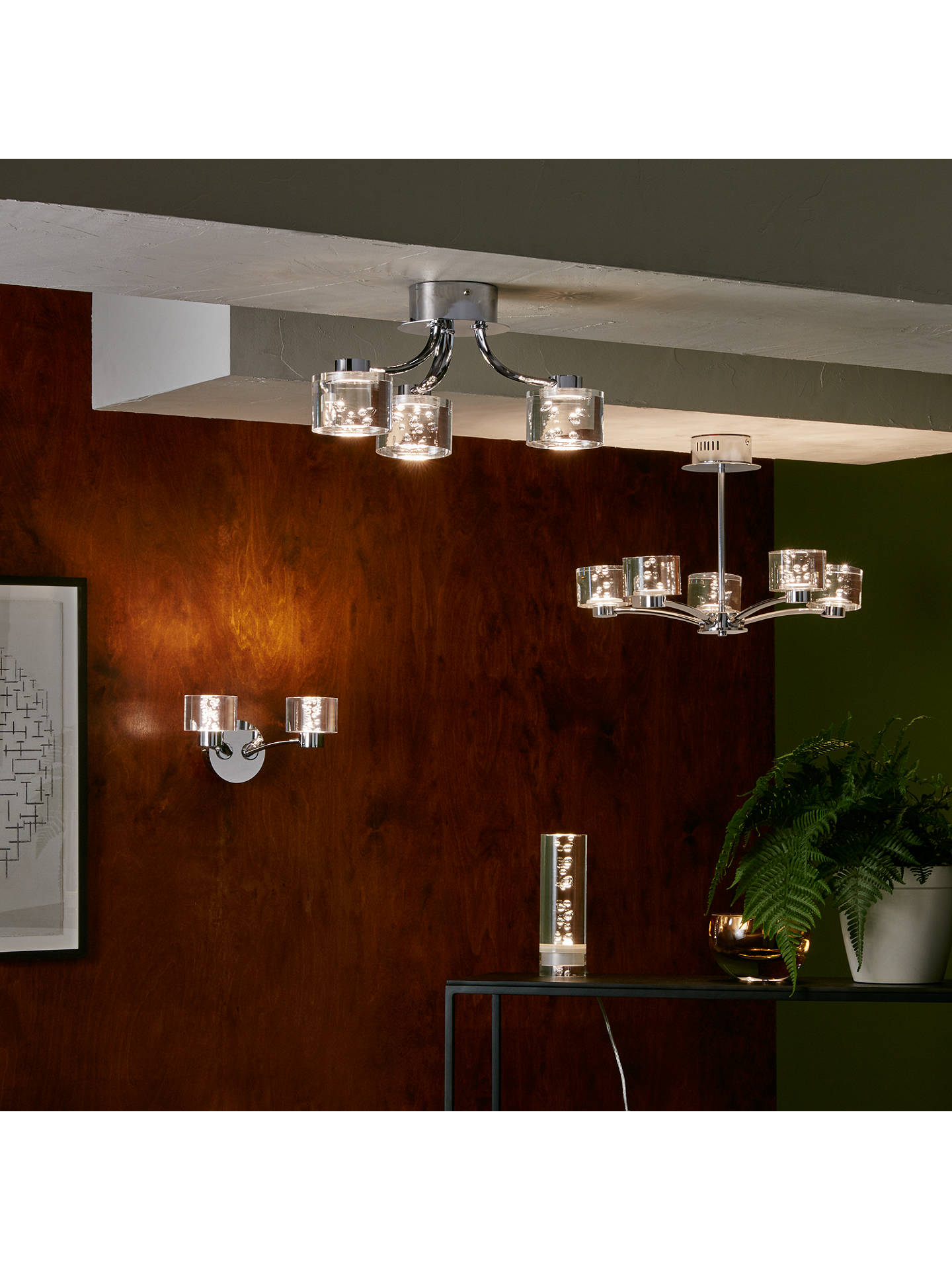 Buy John Lewis & Partners Lawrence LED Bubble Flush Ceiling Light, 3 Light, Clear/Silver Online at johnlewis.com