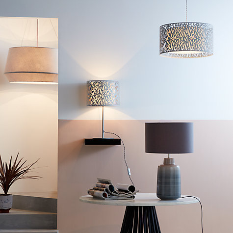 Buy John Lewis Minna Small Ceramic Cylinder Table Lamp, Grey Online at johnlewis.com