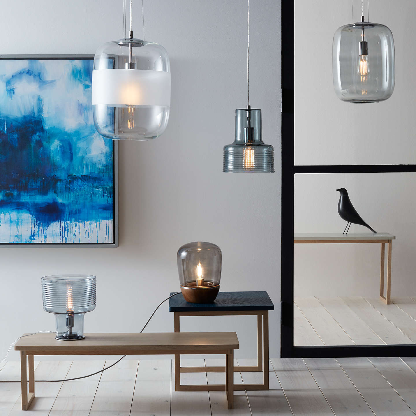 BuyJohn Lewis Hanna Smoky Glass Table Lamp Walnut Stain Online At Johnlewis