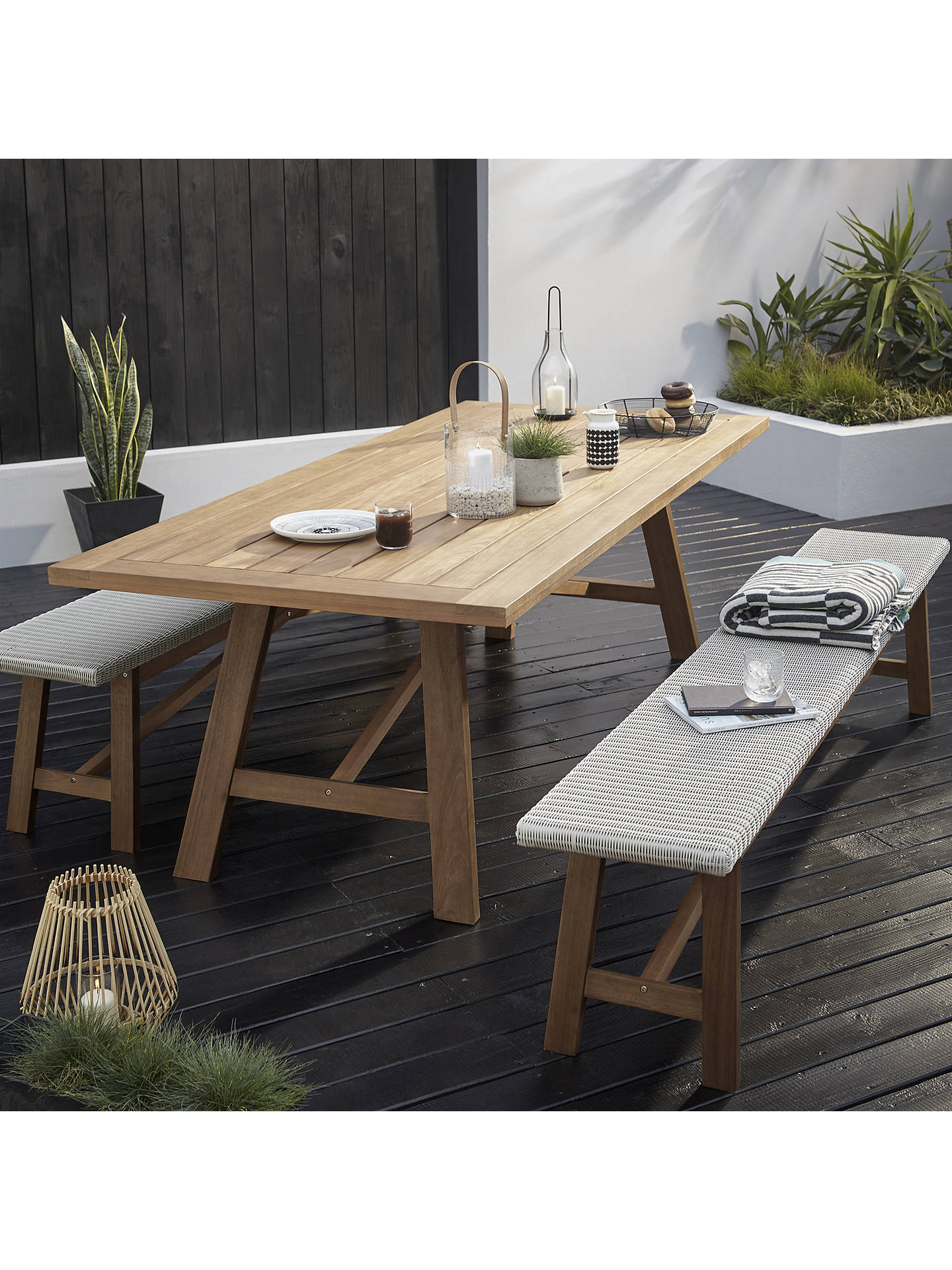 John Lewis Partners Stockholm 8 10 Seater Garden Dining Table Bench Set Fsc Certified Eucalyptus Natural