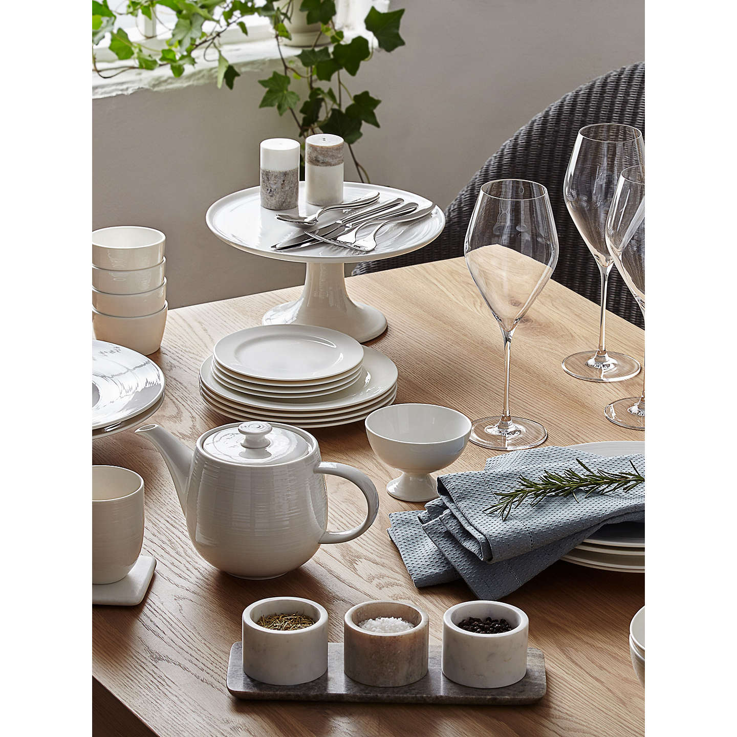 BuyCroft Collection Luna Rim 27.5cm Plate, White Online at johnlewis.com