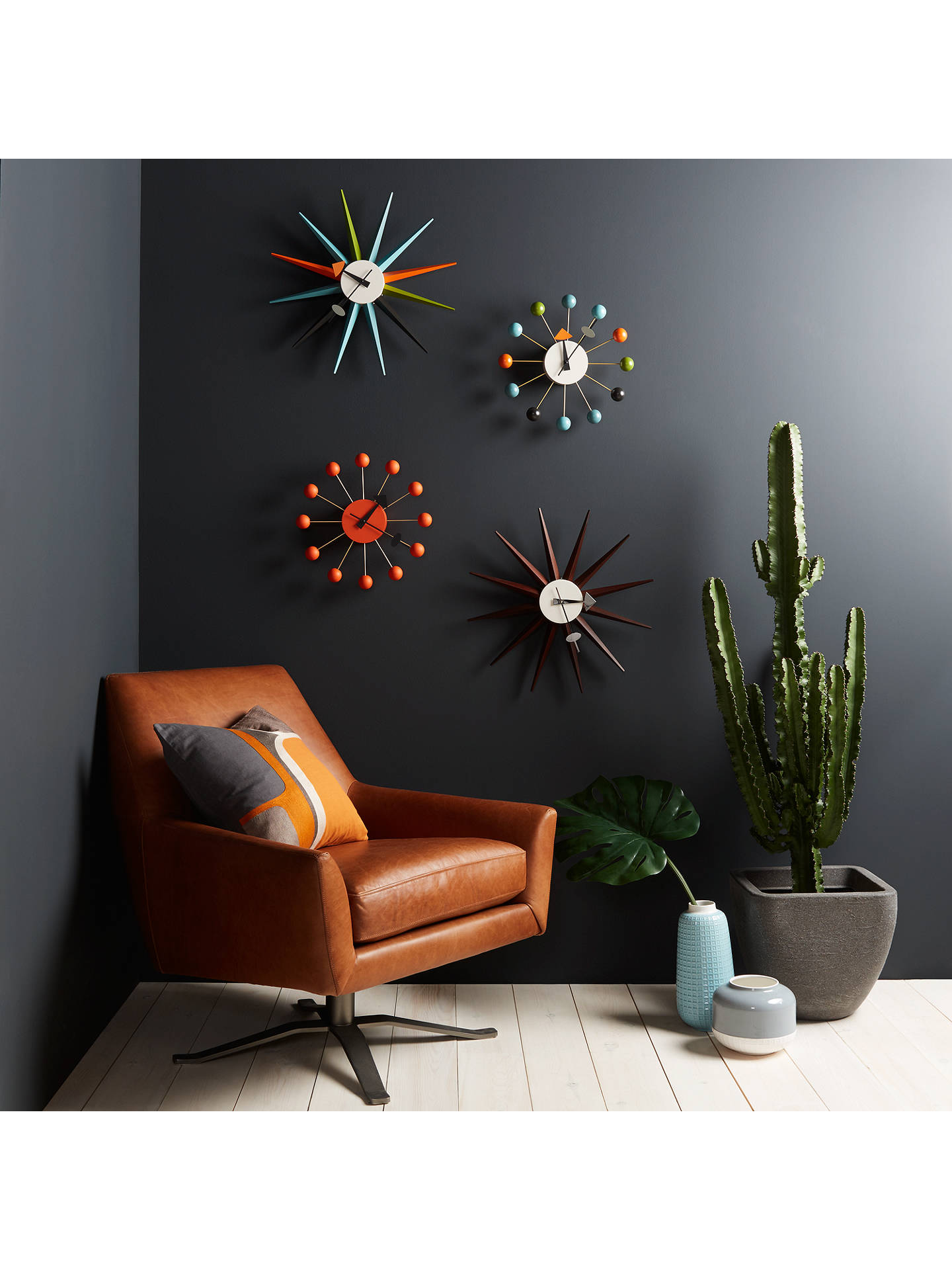 Buy Vitra Sunburst Clock, Dia.47cm, Walnut Online at johnlewis.com