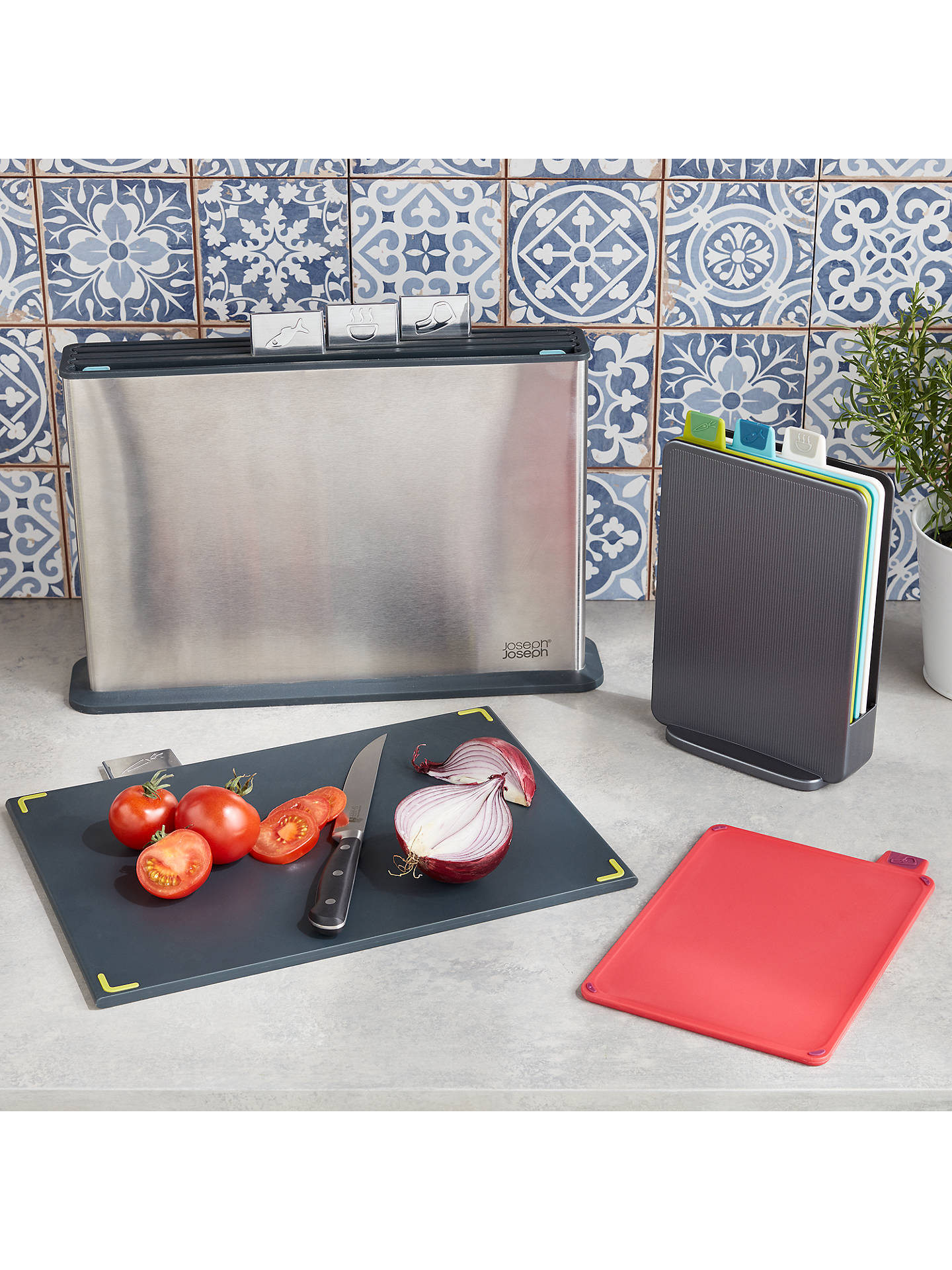 Buy Joseph Joseph Mini Index Plastic Chopping Boards & Storage Case Set, Silver Online at johnlewis.com