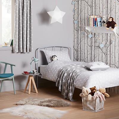 little home at John Lewis Star Duvet Cover and Pillowcase Set, Single, Grey