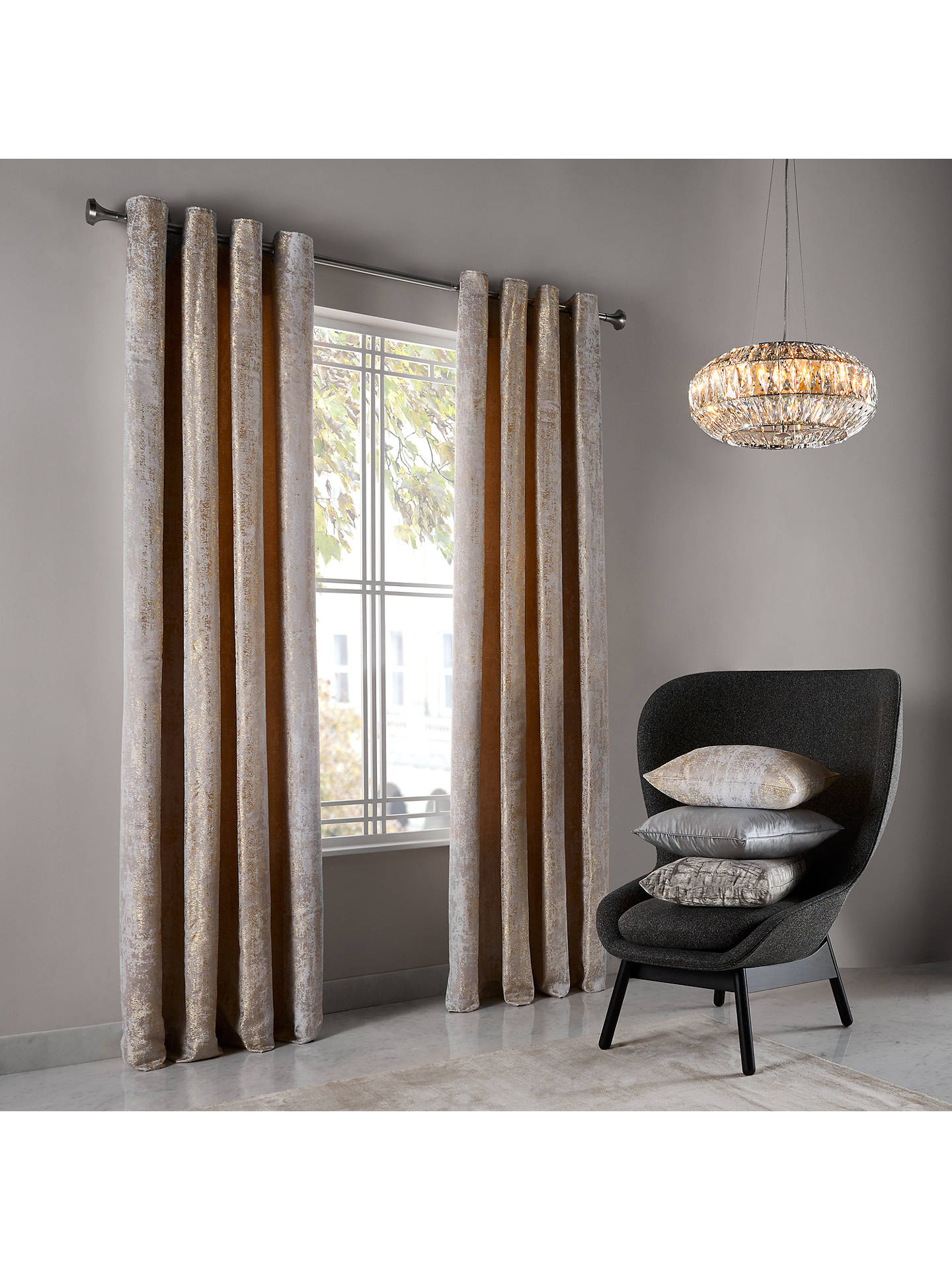 BuyJohn Lewis & Partners Compton Pair Textured Lined Eyelet Curtains, Gold, W167 x Drop 137cm Online at johnlewis.com