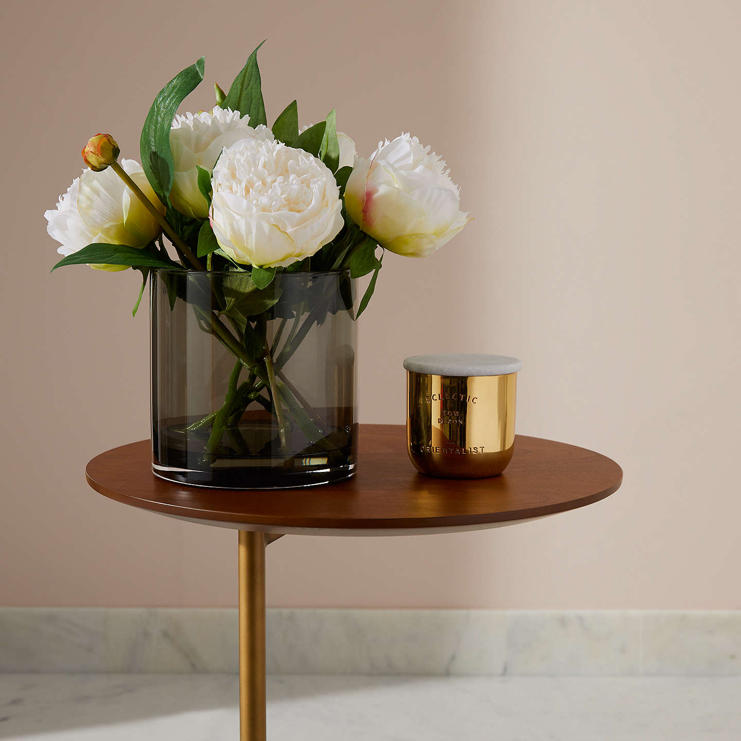 Peony artificial peonies in black glass cylinder vase white at john buypeony artificial peonies in black glass cylinder vase white online at johnlewis mightylinksfo