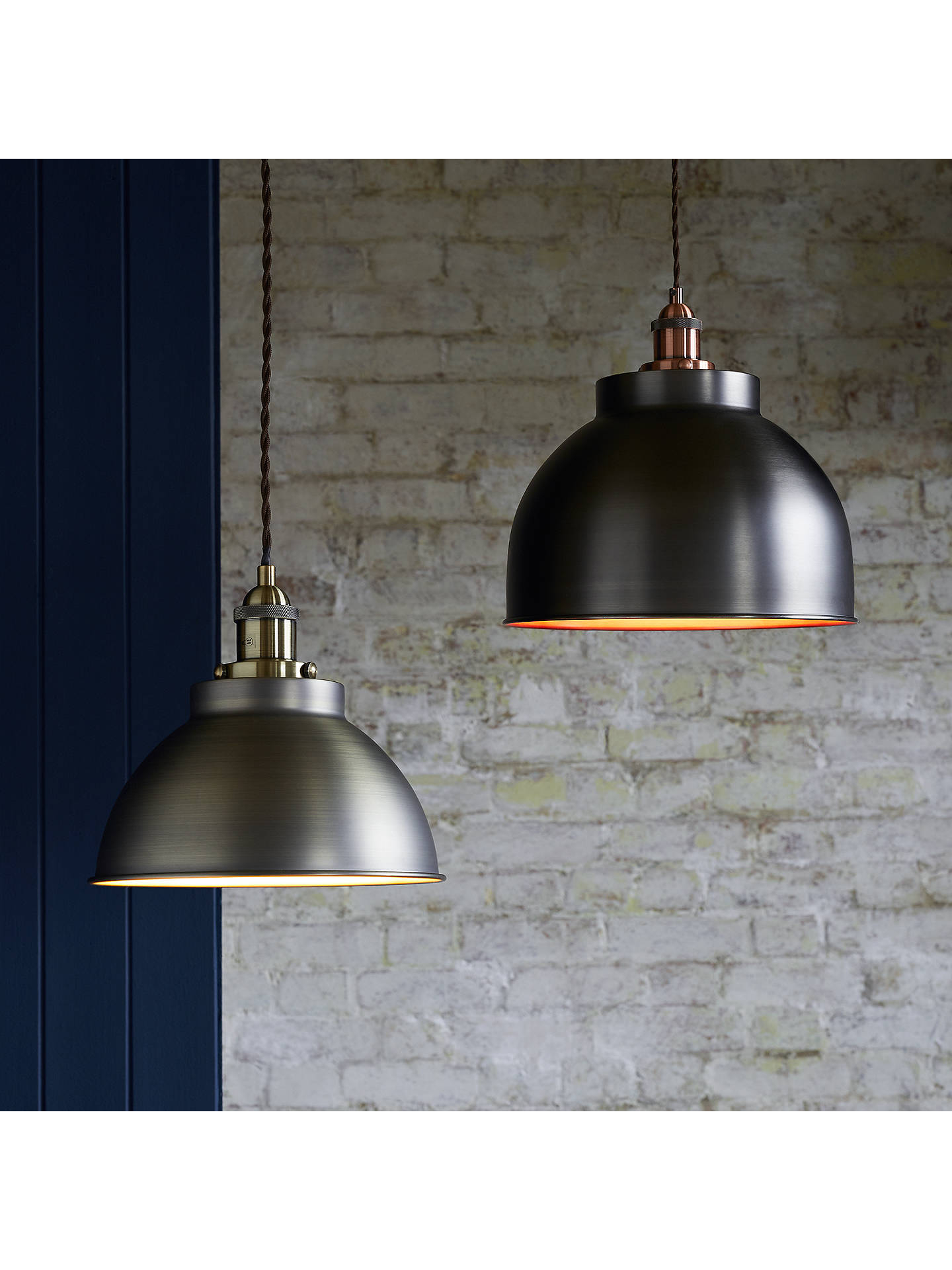 John Lewis Partners Baldwin Large Pendant Ceiling Light Pewter Copper