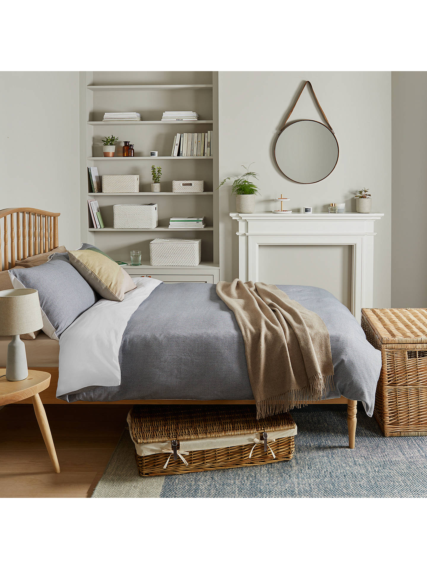 Buy Croft Collection Rattan Basket, White Online at johnlewis.com