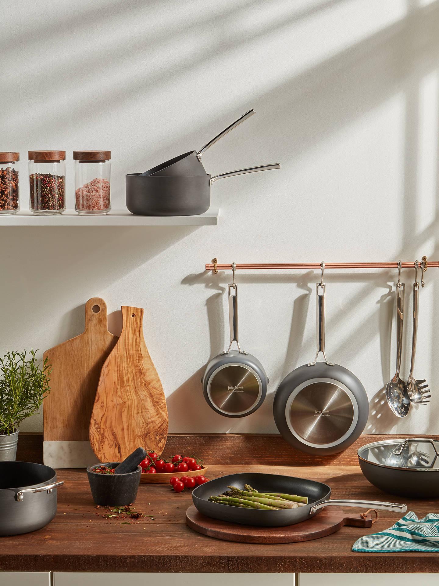 John Lewis & Partners Hard Anodised Aluminium Non-Stick Saucepan/Frying Pan  Set, 11 Pieces