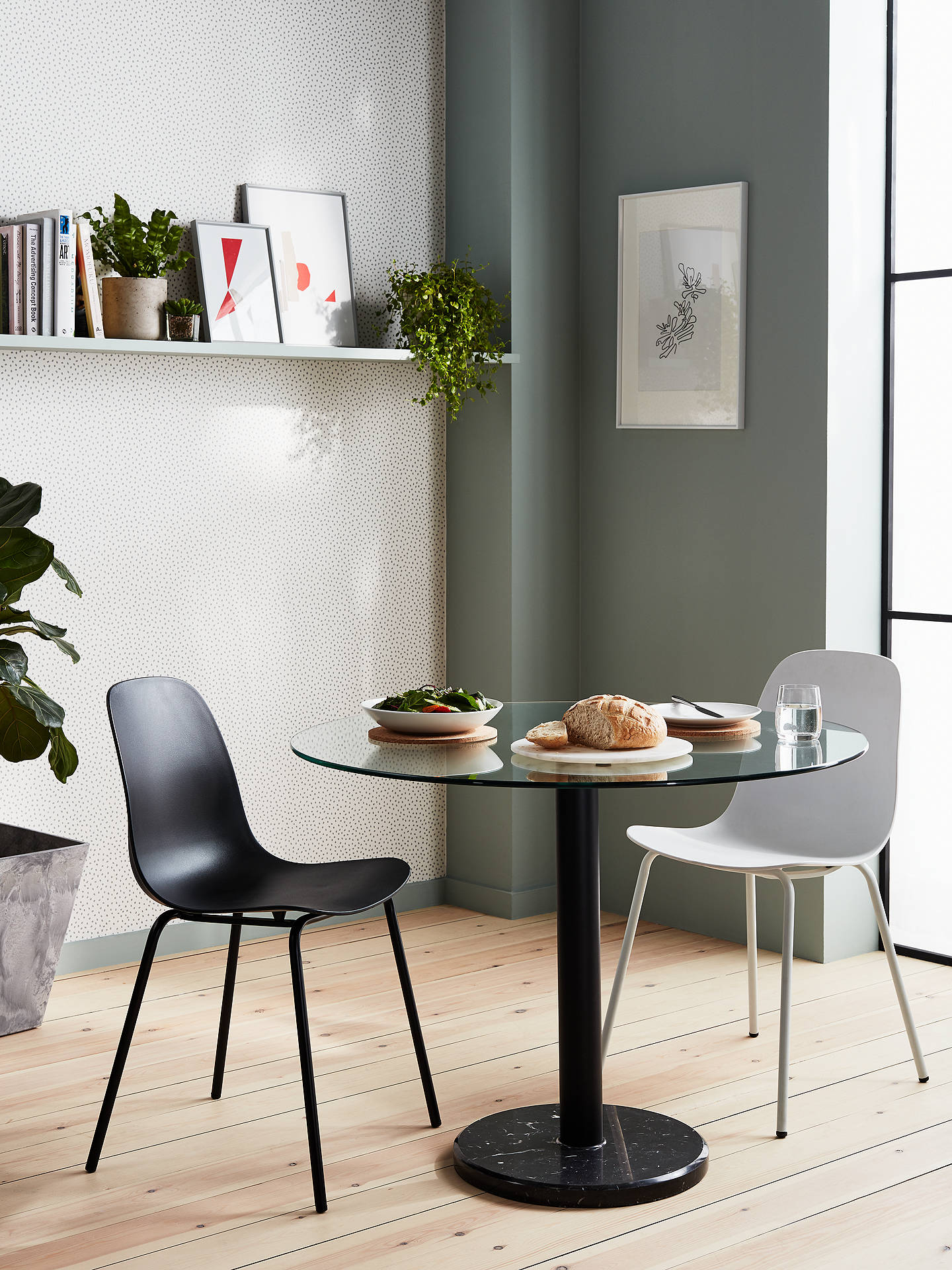 House By John Lewis Enzo 2 Seater Gl Round Dining Table Black Marble
