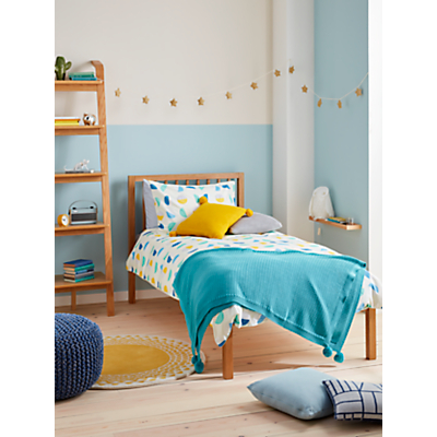 little home at John Lewis Circle & Scribble Reversible Duvet Cover and Pillowcase Set, Blue