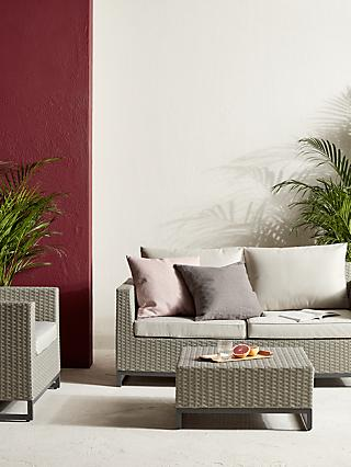 John Lewis & Partners Valencia 3-Seat Garden Lounging Set, Light Grey