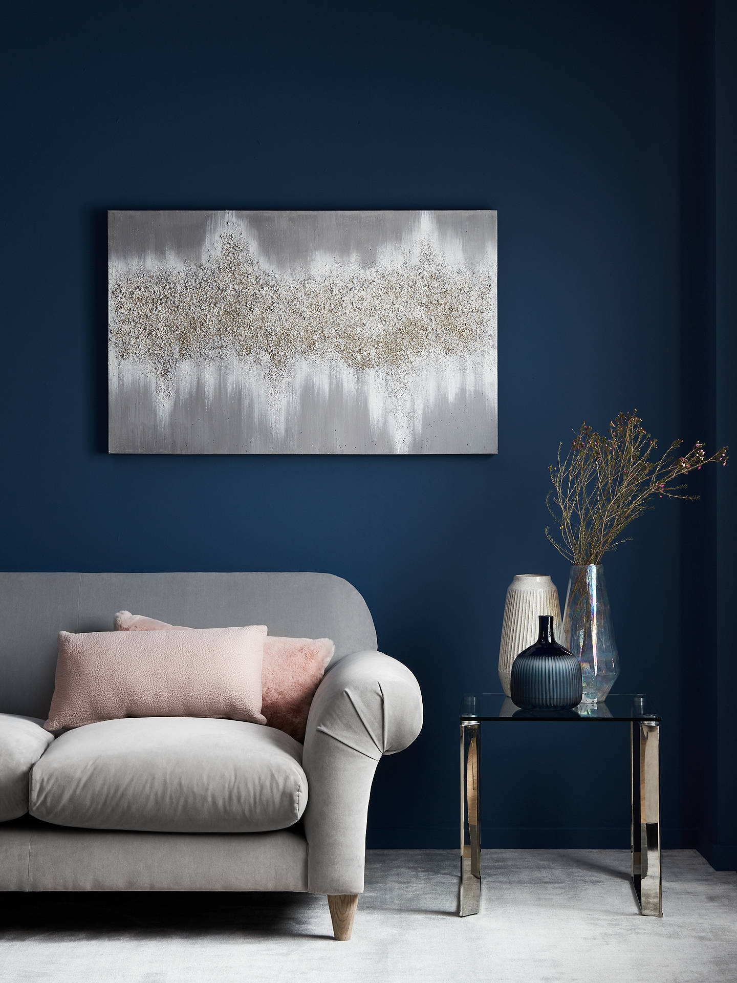 Buy indra hand painted embellished canvas 70 x 113cm grey white