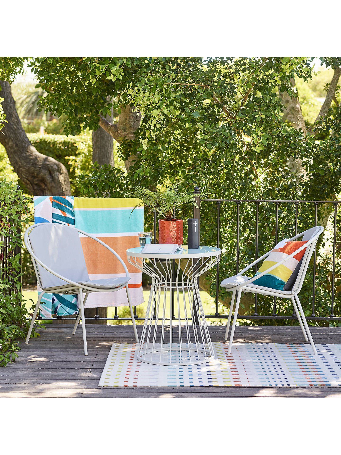 Buy house by john lewis porto bistro garden table and chairs set french grey online