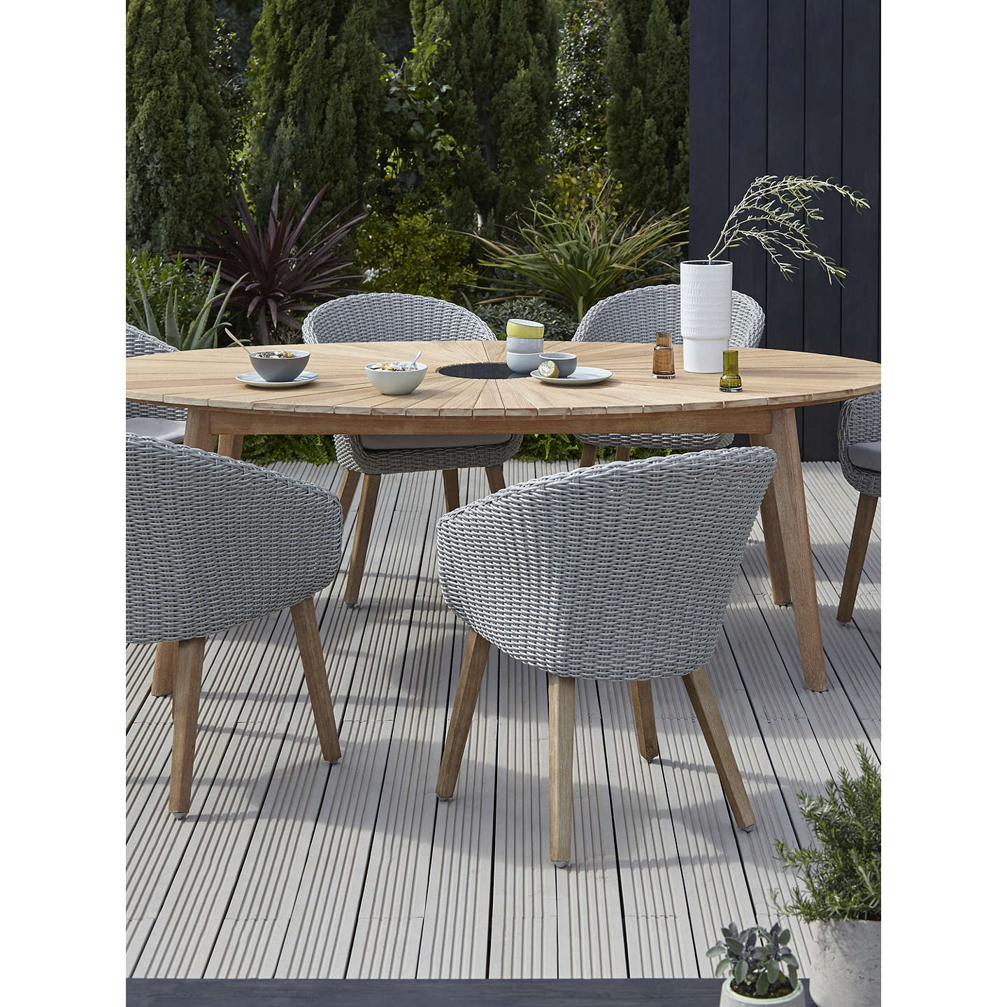 John Lewis Sol 6 Seater Oval Garden Dining Table & Chairs Set, FSC ...