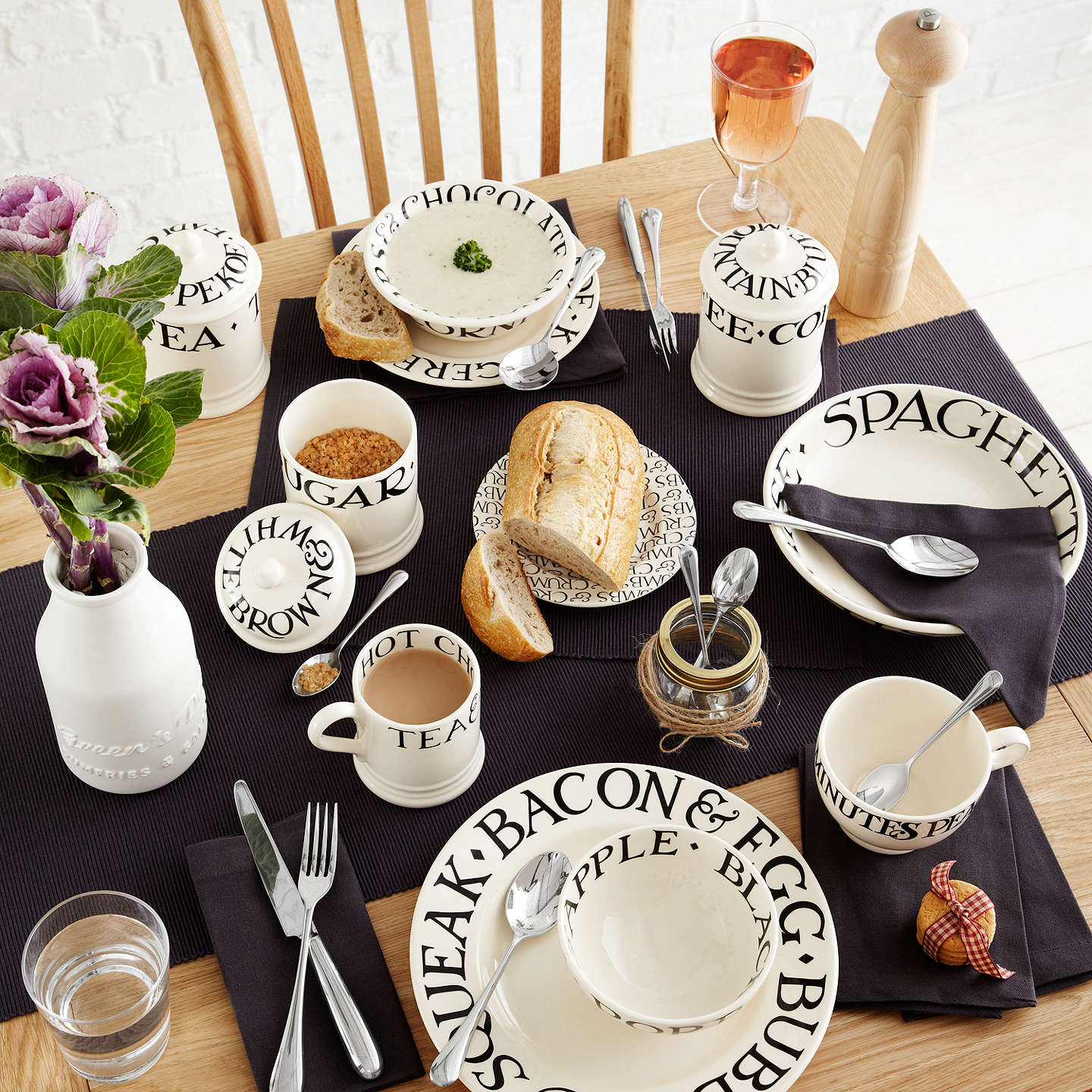 BuyEmma Bridgewater Black Toast Dinner Plate, Natural/Black, Dia.27cm Online at johnlewis.com