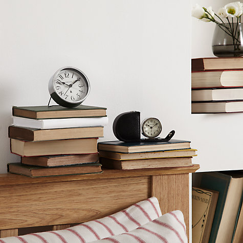 Buy Lascelles Travel Alarm Clock in a Leather Case, Black Online at johnlewis.com